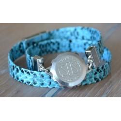 S.O.S talisman armband uitgevoerd in slangenprint blauw